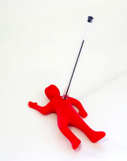 stabbed man pencil holder