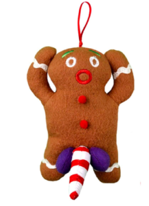 Gingerbread Man with a Candy Cane Penis - funny Christmas tree ornaments