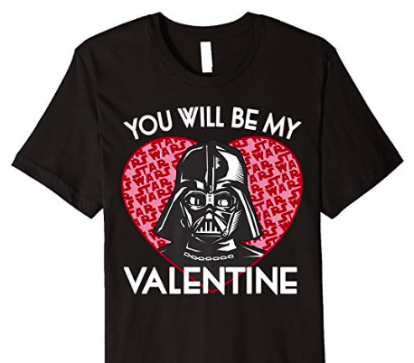 A Star Wars Themed Valentines Day T-Shirt with Darth Vader for sale