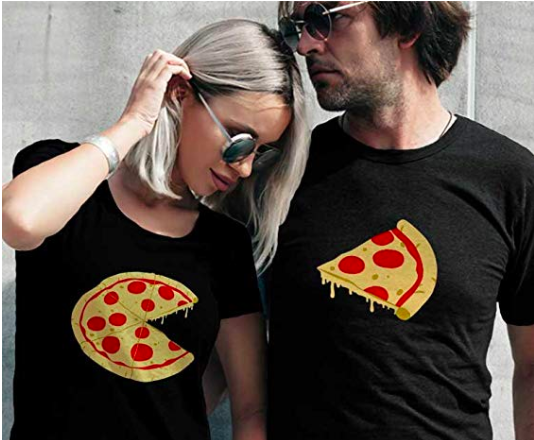 Couples Missing Slice Pizza T Shirt Set