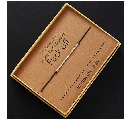 silver morse code bracelet - morse code fuck off bracelet